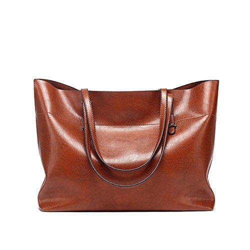 VECHOO Borsa a spalla da donna vintage borsa a spalla tote Borsa a spalla da donna grande shopping tote (nero) Marrone