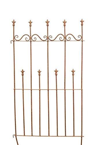 Dekorativer Metall Zaun mit Verzierungen - Farbe: Rost - Höhe 65cm / Breite 125cm - Steckzaun