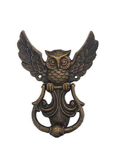 Türklopfer Eule aus Gusseisen in Bronze-Optik |Türklingel Türglocke Türschelle | Antik Stil | 15,5x19x3 cm (9332)