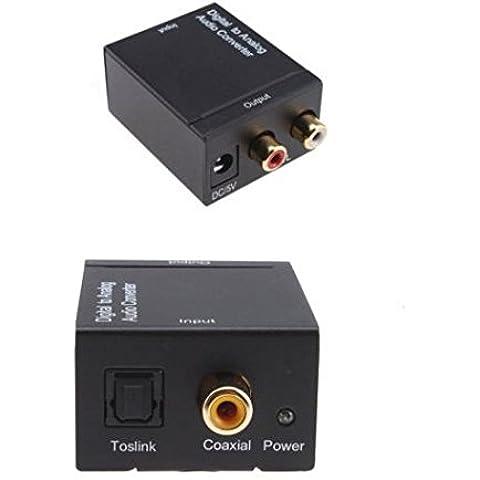 AONS DAC SPDIF Convertitore adattatore digitale ottico coassiale Toslink ad Analogico, da Digitale ad analogico, RCA L/R, jack audio da 3,5mm jack stereo 3,5mm uscita cuffia per PS3XBOX 360HDTV Blu Ray DVD SKY HD Apple TV Amazon fire TV Box