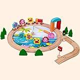 BeesClover 40 Stück Kinder Holz Eisenbahn Schienen-Set Bauspielzeug Magic Magnetisches Angelspiel Holz Puzzles Spielzeug für Kinder