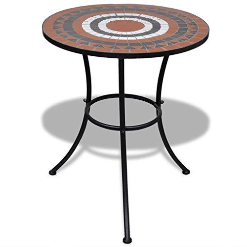 lingjiushopping Table en céramique avec mosaïque 60 cm terre cuite/blanc matériau : châssis en fer verni à poudre + table en céramique Tables d'extérieur