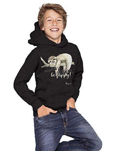 Mädchen & Jungen Hoodie Sweatshirt Premium [**Motivauswahl**] - Faultier Style by Sunnywall® boys & girls (12 Jahre (142/152), slow down be happy | 7kids schwarz) -