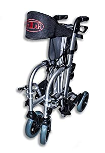 Fabacare Premium Hybrid Rollator Aluminium Rollator and Transport Chair Wheelchair with Folding