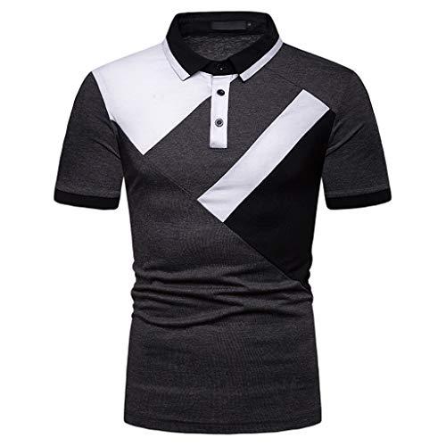 oshirt Langarm Polohemd Polo Shirts mit Streifen Polokragen Mode-Sweatshirt Kurzarm Top Button Patchwork Fashionable T-Shirt ()