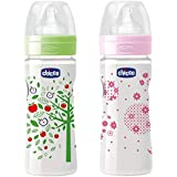 Chicco 250ml Well-Being Feeding Bottle (Pack Of 2) - 250 Ml (Green, Pink)