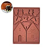 Rocita 1 Stück Weihnachten Backform Mini Lebkuchenhaus Form 3D Kuchen Plätzchen Form für DIY Backen (Schokolade Farbe)