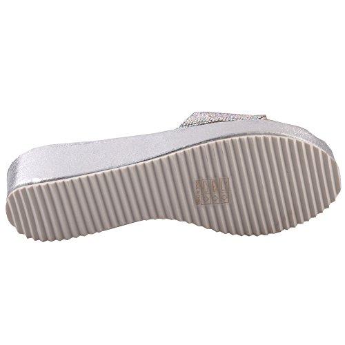 Unze Für Frauen Aruga ' Shimmery Keilsandaletten - 8028-1 Silber