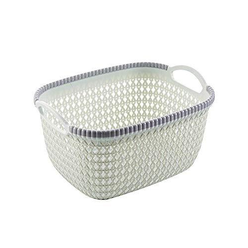 SAMPLUS MALL (LABEL) Set of 1 Household Hollow Rattan Plastic Knitted Storage Shelf Basket Bins Office Bathroom Organizer Cabinet Container Box with Handles (Extra Large)