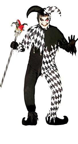 Herren Kostüm Harlekin - schwarz weißes Harlekin Clown Kostüm für Herren Gr. M/L, Größe:L