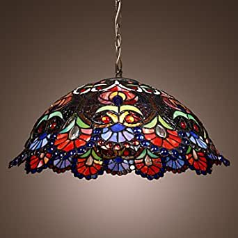 Spring Light Tiffany Pendant Light with 2 Light in Artistic Patterned Shade