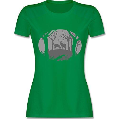 Shirtracer Wildnis - Hirsche - Damen T-Shirt Rundhals Grün