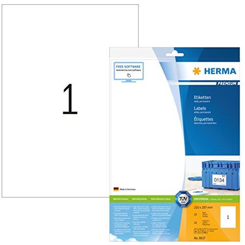 Herma 8637 Universal Etiketten (Format DIN A4 210 x 297 mm) weiß, 10 Klebeetiketten, 10 Blatt Premium Papier matt, bedruckbar, selbstklebend