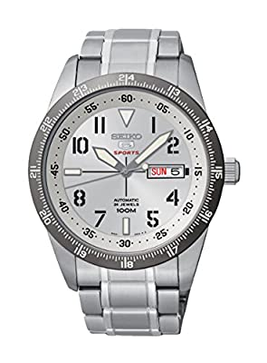 Seiko Seiko 5 Sports - Reloj de automático para hombre, con correa de acero inoxidable, color plateado