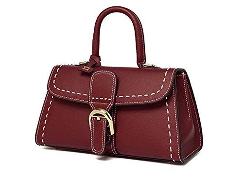 Xinmaoyuan Borse donna primavera ed estate borsette in cuoio colori puri del tipo a cuscino Tote Bag,giallo Rosso