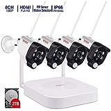 【Mikrofon & PIR Sensor】 Tonton 8CH Full HD 1080P Audio Überwachungskamera mit Audioüberwachung 8CH Recorder mit 4 Außen 1080P Wireless Metallgehäuse Funkkamera mit Tonübertragung 2TB Festplatte