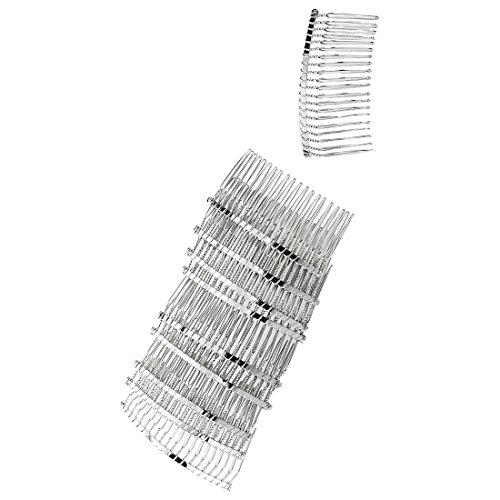 TOOGOO(R) Damen 10 Stk. Eisen Silber Haar Kamm Spange 76x36mm Dekoration
