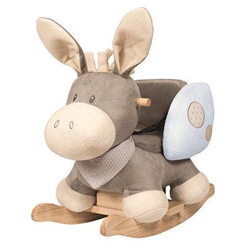 *Nattou 211253 Cappuccino – Schaukeltier ab 1 Jahr mit Gurt für Mädchen und Jungen, Schaukelesel, Esel blau*