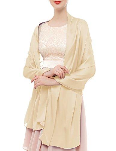bridesmay bridesmay Damen Elegant Seidenschal 180 * 90cm Seide Halstuch Stola Schal für Kleider in 20 Farben Apricot