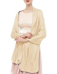 c7063deac115 Bridesmay Femme Écharpe Châle Foulard Étole Unicolore en Soie Artificiel  pour Mariage Soirée Cérémonies ...
