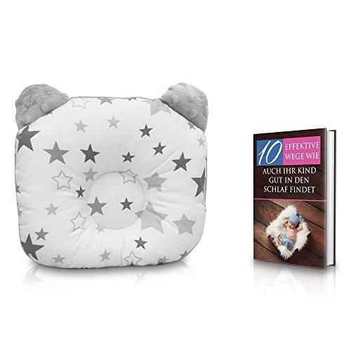 KidiZone das ergonomische Babykissen gegen Kopfverformung und Plattkopf mit Oeko-Tex 100 Zertifikat. Dieses Kinderkissen, Lagerungskissen baby pillow für die Baby Erstaustattung + kostenloses eBook