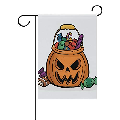 LINDATOP Halloween-Flagge mit Süßigkeiten-Muster, 30,5 x 45,7 cm, doppelseitig, Hofdekoration, Polyester, Outddor-Flagge, Home Party, Polyester, Multi, 12x18(in) (Halloween Party Süßigkeiten Uk)