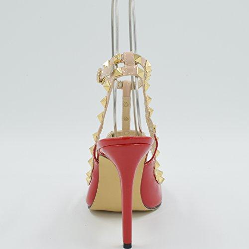 Oasap Femme Chaussure A Talons Hauts Rivet Décoration Talons Aiguilles Bout Fermé red
