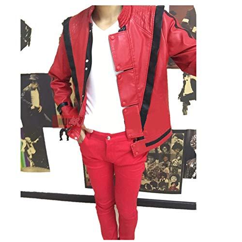 (Michael Jackson Leder Thriller Red Jacket Hosen und kostenlose Billie Jean Glove (XL: H 175-180cm))