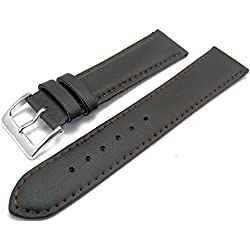 Brown Padded Leather Watch Strap Band With A Stitched Edging And Nubuck Lining 20mm