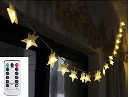 TokoDirect 5m 50er LED Lichterkette Batteriebetrieb Sterne mit Fernbedienung & Zeitschaltuhr (8 Modi, 4W, Dimmbar,Warmweiß) (Weihnachtsbaum Zeitschaltuhr)