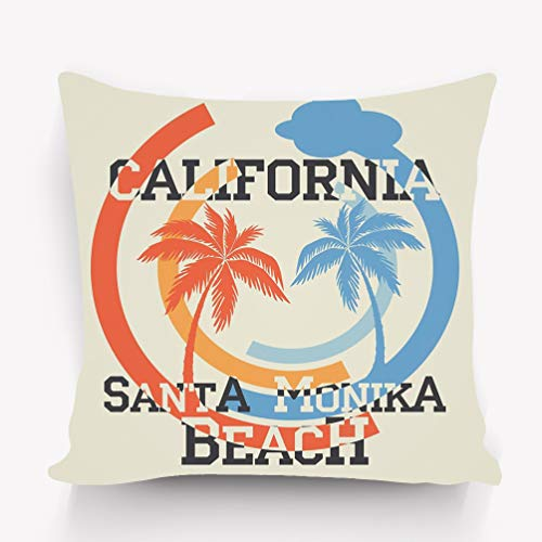 Copricuscini e federe Throw Pillow Cushion Cover Santa Monika California Beach Typography Sport Emblem Vintage Wear Print Design Decorative Square Accent Pillow Case 18 X 18 Inches