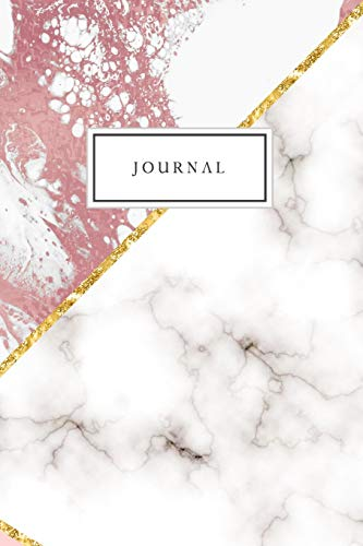 Journal: Blank Lined Journal College Ruled Diary Notebook Rose Gold White Marble Glam -