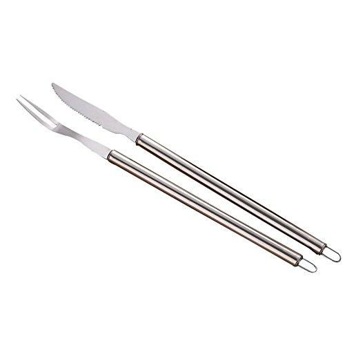 Yves25Tate Besteck-Set Rostfrei Menübesteck poliert,Messer+Gabel ,hölzerner Handgriff