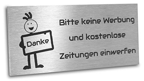 Jung Edelstahl Design Edelstahlschild Bitte keine Werbung und kostenlosen Zeitunge einwerfen 80X35 mm