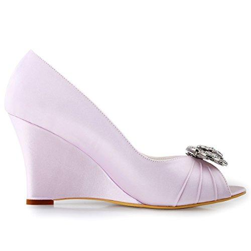 ElegantPark WP1547 Escarpins Femme Talon Compense Satin Bijou Mobile Diamant Fleur AF01 Chaussures de Soiree Lavande