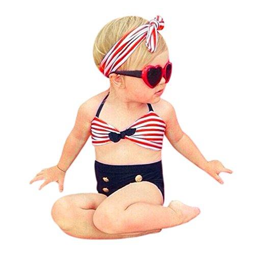 Kinderbekleidung,Honestyi 3 Stück Säugling Kinder Baby Mädchen Bademode Riemen Badeanzug Baden Bikini-Set Outfits Tops Streetwear T-shirt Shorts (6M/70CM, Rot) (Stück Badeanzug 1 Zurück)
