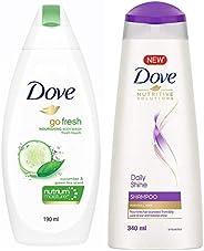 Dove Go Fresh Nourishing Body Wash, 190ml & Dove Daily Shine Shampoo, 340ml