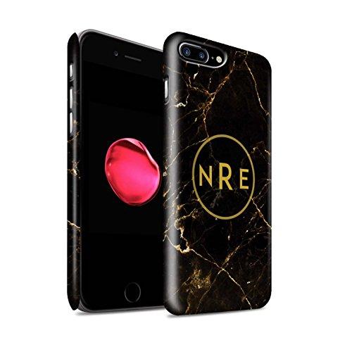 Personalisiert Individuell Marmor Matte Hülle für Apple iPhone 7 Plus / Schwarze Schärpe Design / Initiale/Name/Text Snap-On Schutzhülle/Case/Etui Schwarz Monogramm