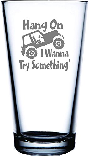 IE Laserware Jeep Hang on I want to try Something! Bierglas mit Lasergravur, 473 ml