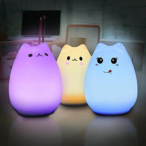 Bluelover Elfeland Multi-Color-Cat-Lampe Mit Fernbedienung - Kinder Cute Kitty Cartoon Tier LED Portable Silikon Night Light12 Einzelfarben & 7-Farben-Atemmethodenusb Wiederaufladbare-Timing-Funktion
