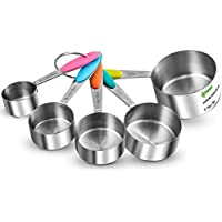 Ipow Thicker Handle Stainless Steel Set of 5 Kitchen Cooking Baking Measuring Cups Measuring Spoon with Silicone Handle