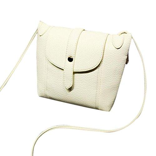 Kolylong Retro Mode féminine en cuir PU Sac à bandoulière épaule Messenger Bag Beige