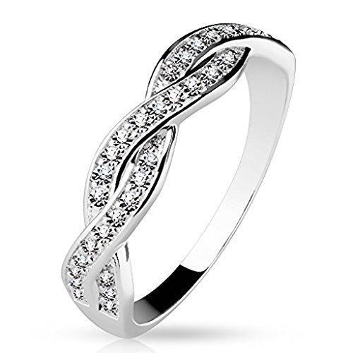 Tapsi´s Coolbodyart®| Damen Ring 925 Silber Zirkonia Zwei Reihen Verdreht Größe 47(15)