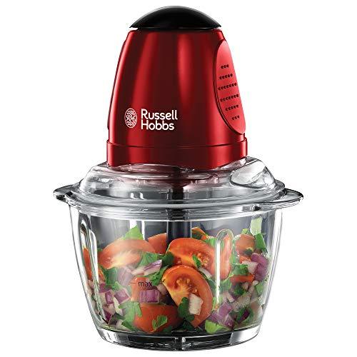 Russell Hobbs Desire Mini-Zerkleinerer (Ein-Hand-Bedientaste, Glasbehälter inkl. Deckel, Gemüsezerkleinerer, elektrischer Multi- & Universalzerkleinerer für Gemüse, Obst und Fleisch 20320-56)