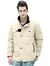 Queenshiny Short Men's Down Coat Jacket white duck down filling stand collar light khaki uk size M-XXL