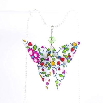 Collier court papillon origami multicolore en tissu (Liberty)