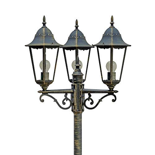 Mastleuchte Norderney 3-flg | Leuchte antik-bronze, Höhe 220 cm | Kandelaber inkl. 3x AGL Leuchtmittel 60W