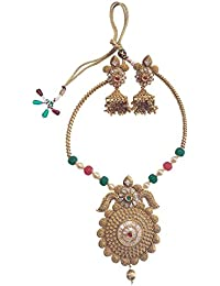 Traditional Ethnic One Gram Gold Plated Real Kundan Fine Work Hansdi Necklace Set With Jhumka Earrings For Women...