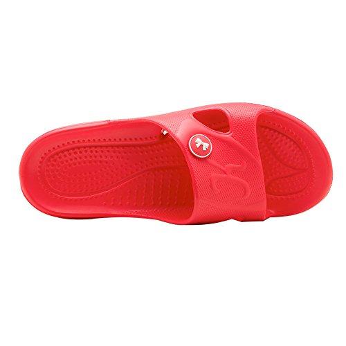 KENROLL Dusch Badeschuhe Sommerurlaub Damen Hausschuhe Zehentrenner Strandschuhe Flip Flops Rote
