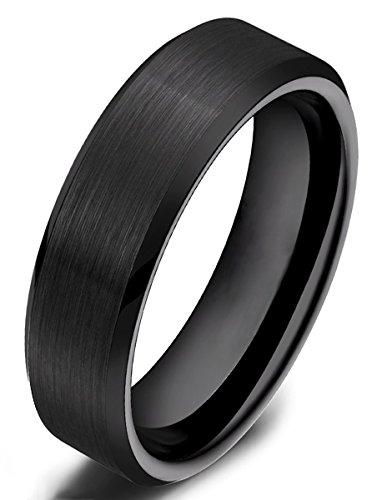 Damen Herren Ringe aus Wolframcarbid Gebürstet Schwarz Verlobungsringe Trauringe